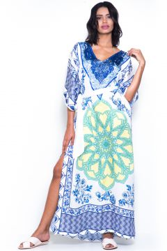 Vestido 101 Resort Wear Estampado Branco/Azul 101 Resort We