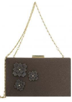 Bolsa Clutch Le Diamond Flowers Marrom Le Diamond
