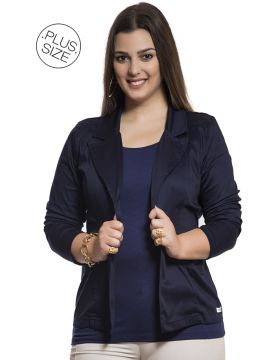 Blazer Collor Robe Belle Plus Size Dipi Shop Plus Size Azul