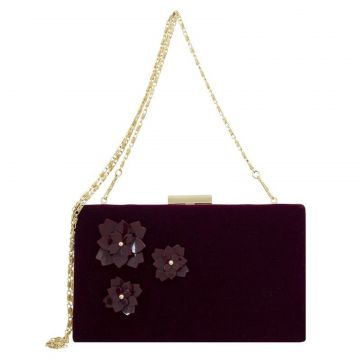 Bolsa Clutch Le Diamond Flowers Vinho Le Diamond