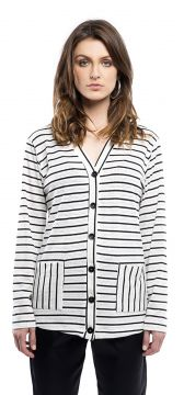 Cardigan Walk Trendy Casul Listrado Branco Walk Trendy