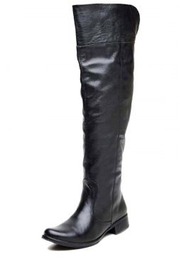 Bota Cla Cle Over The Knee Dobrável Couro Preto ClaCle