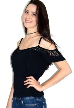 Blusa Up Side Wear com Renda Preta Up Side Wear