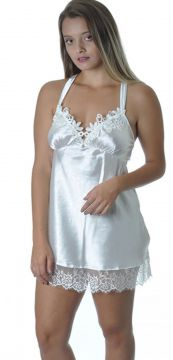 Camisola Beautiful Lingerie Sem Bojo Branca Beautiful Linge