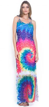 Vestido 101 Resort Wear Longo Renda Azul/Rosa 101 Resort We