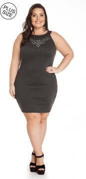 Vestido Plus Size Miss Masy Plus Cinza Miss Masy Plus