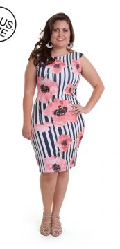 Vestido Cotton Colors Plus Size Listrado Floral Branco/Pret