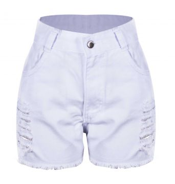Short Outletdri Jeans Destroyed Final De Ano Festas Branco