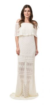 Vestido Pink Tricot Longo Ombro a Ombro Off White Pink Tric