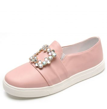 Slip On DAFITI SHOES Pedraria Rosa DAFITI SHOES