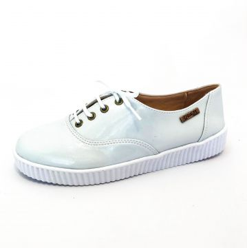 Tênis Creeper Quality Shoes 0035 Branco Verniz Sola Branca