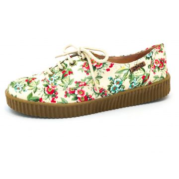 Tênis Creeper Quality Shoes 0048 Floral Amarelo Quality Sho