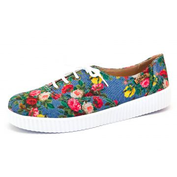 Tênis Creeper Quality Shoes 0038 Floral Azul Sola Branca Qu