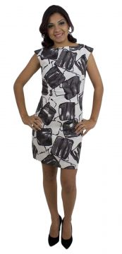 Vestido Therelli Social Estampado Shadow Cinza Therelli