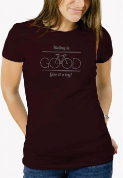 Camiseta Trilha Camisetas Riding Is Good Vinho Trilha Camis