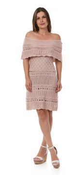 Vestido Pink Tricot Curto Ombro a Ombro Nude Pink Tricot