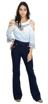 Calça Flare 101 Resort Wear Jeans Azul 101 Resort Wear