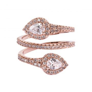 Anel Snake The Ring Boutique Zircônia em Ouro Rosé The Ring