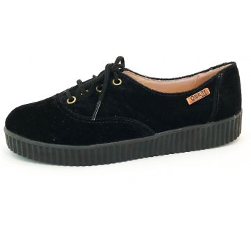 Tênsi Creeper Quality Shoes Veludo Preto Sola Preta Quality