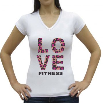 Camiseta Baby Look Casual Sport Love Fitness Branca Casual