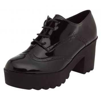 Oxford DAFITI SHOES com Salto Preto DAFITI SHOES