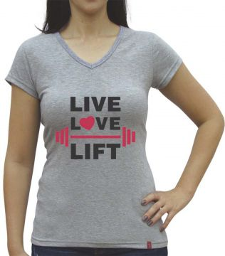 Camiseta Baby Look Casual Sport Live Love Lift Cinza Casual