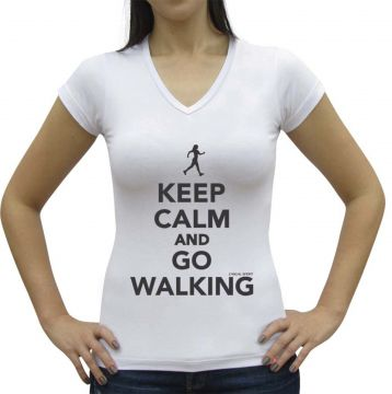 Camiseta Baby Look Casual Sport Keep Calm and Go Walking Br