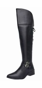 Bota Le Sportiff Over knee Regulagem Atrás Bico Fino Preto