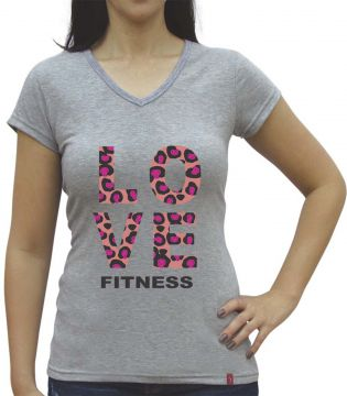 Camiseta Baby Look Casual Sport Love Fitness Cinza Casual S