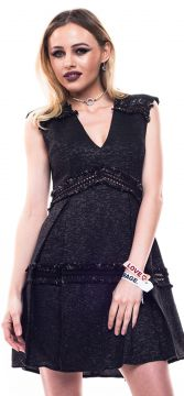 Vestido Poema Hit Tweed Metalizado Preto Poema Hit
