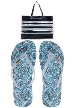 Chinelo Dumond Full Print Branco/Azul Dumond