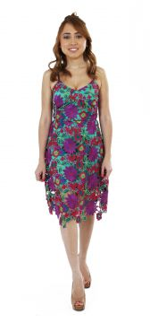Vestido Lacomposé Midi Renda Guiipir Tropical Decotado Roxo
