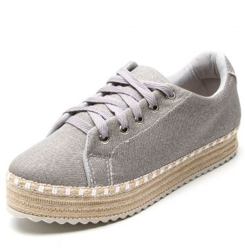Tênis Flatform DAFITI SHOES Espadrille Cinza DAFITI SHOES