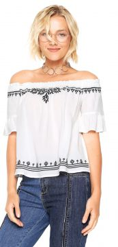 Blusa Hering Ombro-a-ombro Bege/Preto Hering