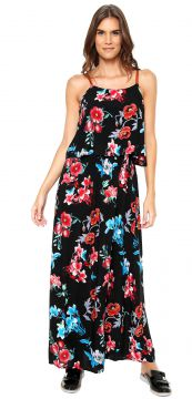 Vestido Lily Fashion Longo Floral Preto Lily Fashion