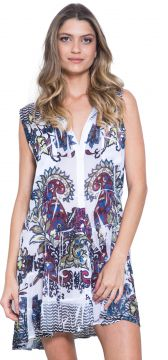 Chemise 101 Resort Wear Estampada Sem Manga Branco 101 Reso