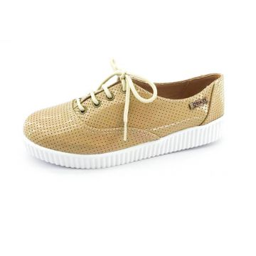 Tênis Creeper Quality Shoes Verniz Bege Perfurado Quality S