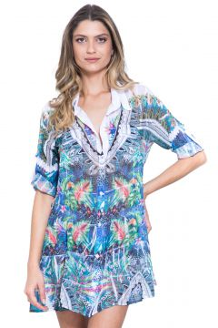 Chemise 101 Resort Wear Babado Estampada Azul 101 Resort We