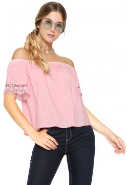 Blusa Facinelli by MOONCITY Ombro-a-Ombro Renda Rosa Facine