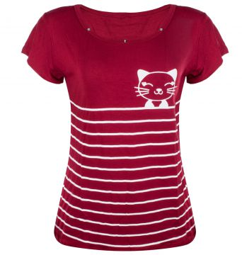 Blusa Outlet Dri Manga Curta T-shirt Estampa Gato Miau List