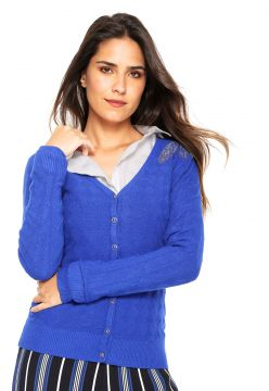 Cardigan Facinelli by MOONCITY Tricot Strass Azul Facinelli