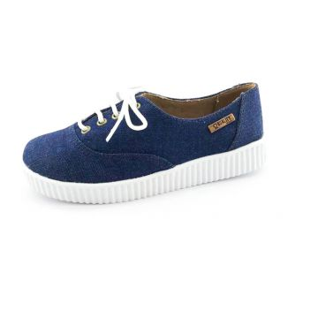 Tênis Creeper Quality Shoes Jeans Escuro Sola Branca Qualit