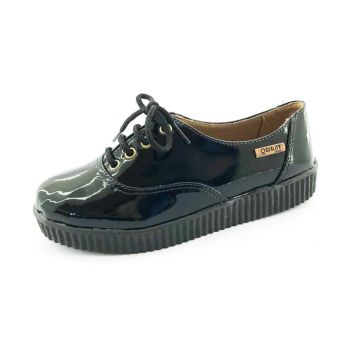 Tênis Creeper Quality Shoes Verniz Preto Sola Branca Qualit
