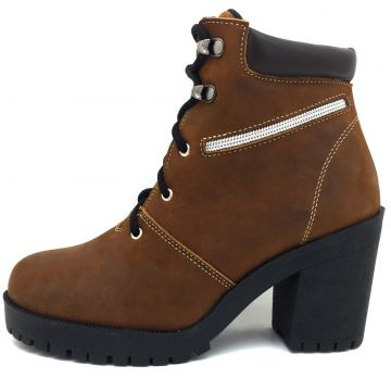 Bota Coturno Atron Shoes Couro Castor Tratorado Atron Shoes