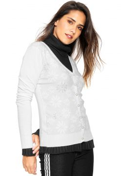 Cardigan Facinelli by MOONCITY Tricot Strass Branco Facinel