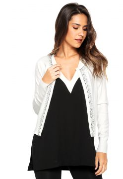 Cardigan Facinelli by MOONCITY Tricot Pedraria Branco Facin