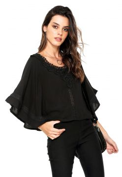 Blusa Facinelli by MOONCITY Ampla Renda Preta Facinelli by