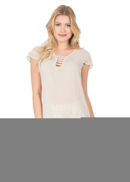 Blusa Crepe MX Fashion Anna Nude MX Fashion