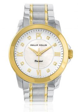 322b54e2129 Relógio Phillip Kollin Diamond Mixed Gold White ZY28127S co