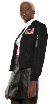 Jaqueta Bomber Facinelli by MOONCITY Patche Preta Facinelli